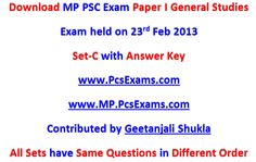 Download Paper I of MP PSC Exam 2013