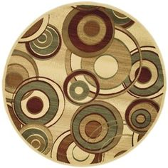 Safavieh Lyndhurst Ivory and Multicolor Round Indoor Machine-Made Area Rug (Common: 7 x 7; Actual: 84-in W x 84-in L x 0.58-ft Dia)