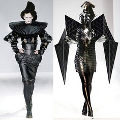 Gareth Pugh - the outfit on the left reminds me of the Tim Burton character Edward Scissorhands. This is because Edward's character was quite odd and he wore all black and he had messy jet black hair, which the outfit and hat remind me of.