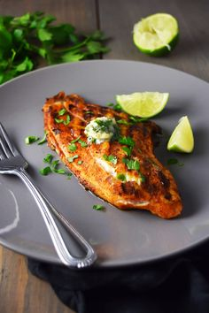Grilled blackened catfish with cilantro-lime butter is a mildly spicy and limey dish that's brought together with fresh cilantro, butter, and garlic. Catfish Recipes, Grilled Shrimp Recipes, Seafood Recipes, Grilling Recipes, Beef Recipes, Vegetarian Recipes, Cilantro Lime Butter Recipe, Blackened Catfish, Blackened Salmon