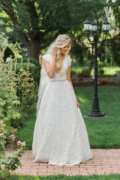 20 Gorgeous Modest Wedding Dresses - You don't need to sacrifice modesty to have a beautiful wedding dress-check out these gorgeous yet modest dresses! Wedding Dresses Lds, Fairy Wedding Dress, Mermaid Wedding, Lace Weddings, Outdoor Wedding Dress, Country Weddings, Vintage Weddings, Wedding Dress With Belt, Simple Country Wedding Dresses