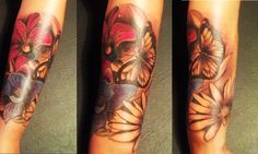 #Butterfly #Flowers #Color #Arm #Tattoo BY GOOS BRUSCHI
