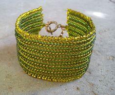 Bracelet, handmade, Transparent Vintage Yellow-Green Preciosa Ornela Czech Seed Beads (220). !