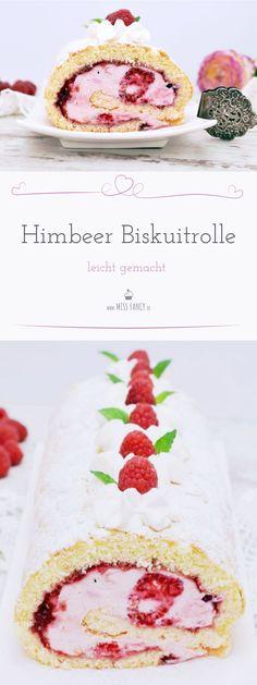 Leckere und zarte Himbeer Biskuitrolle mit Quarkfüllung