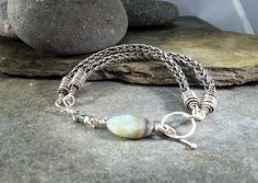 Viking Knit bracelet with gemstone. Handmade bracelet in sterling silver. Gemstone Spider Jasper by NimbleWitchCreative on Etsy