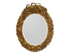 The Exquisite Roses Mirror-OVAL by Alden Parkes | Exquisitely hand-carved roses finished in either a metallic gold with gold leaf touches or a metallic silver with silver leaf touches on this solid mahogany mirror.