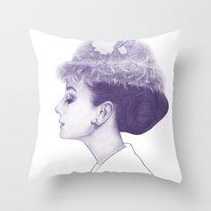 Audrey Hepburn in Purple  Throw Pillow by Clover Chen - $20.00