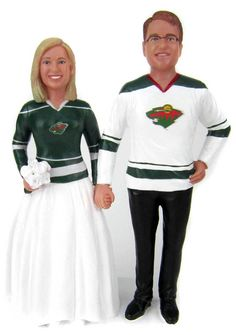 Custom Hockey Wedding Cake Topper - Classic Style Hockey wedding cake toppers Minnesota Wild