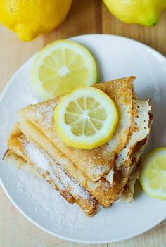 Lemon Sugar Dessert Crepes recipe--who says dessert can't be for dinner once in awhile???  Add a salad and I think it would be delish.