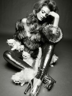 glam crazy cat lady. >^.^<  Constance Jablonski by Greg Kadel for Vogue Italia