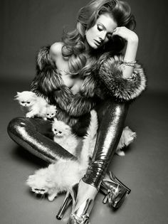 "I imagine this lady is thinking ""I'm so sick of all these adorable fuzzy kittens just crawling all over me...ugh"" Constance Jablonski by Greg Kadel for Vogue Italia"
