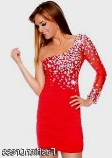 Cool short red one shoulder prom dresses 2017-2018