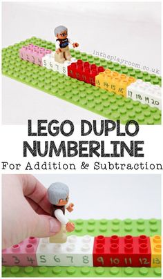 Duplo Number Line for Addition and Subtraction Lego DUPLO number line for addition and subtraction. Simple hands on mathLego DUPLO number line for addition and subtraction. Simple hands on math Lego Duplo, Teaching Addition, Math Addition, Lego Activities, Math Games, Number Line Activities, Number Line Games, Addition Activities, Counting Games