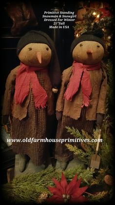 """Primitive Snowman & Snowgirl Couple """"Dressed For Winter""""(Made In USA)"""