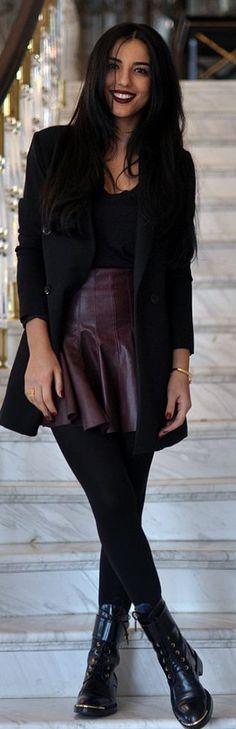 Skater Skirt Fashion. Burgundy Pleated Leather Mini Skirt by Duygu Senyurek