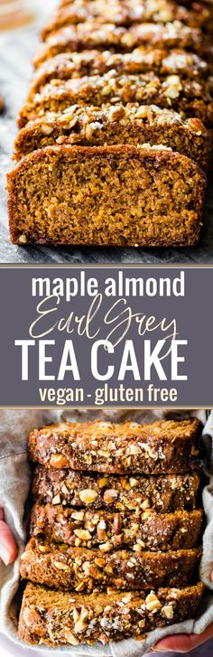 This Vegan Maple Almond Earl Grey Tea cake is lightly sweet and simple. A gluten free buttery tea cake loaf infused with Earl Grey tea and a hint cardamon! The maple almond glaze is the perfect topping. Quick to make in one pan and bakes up in under 45 mi Gluten Free Baking, Gluten Free Desserts, Dairy Free Recipes, Healthy Baking, Vegan Desserts, Baking Recipes, Dessert Recipes, Healthy Recipes, Bread Recipes