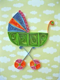 Card_BrightBabyCarriage4 by quillynilly, via Flickr Origami And Quilling, Quilling Paper Craft, Quilling Flowers, Quilling Designs, Quilling Cards, Paper Quilling, Paper Crafts Wedding, Craft Wedding, Shower Bebe