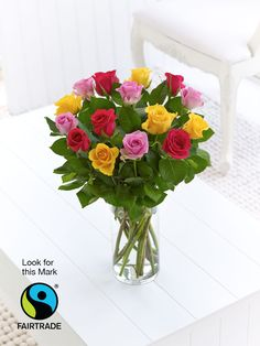 Interflora Simply #Fairtrade Spring Roses. Pink, cerise and golden yellow roses to brighten your day. Available year-round from: http://www.interflora.co.uk/category/fair-trade-flowers/