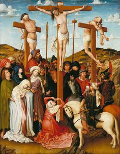 of Robert Campin Crucifixion. 119 x 92 cm. Christian Images, Christian Art, Robert Campin, Crucifixion Of Jesus, Jesus Christ, Salvator Mundi, Religion, Catholic Art, Classical Art