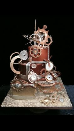 Funny pictures about Awesome steampunk cake. Oh, and cool pics about Awesome steampunk cake. Also, Awesome steampunk cake. Unique Cakes, Creative Cakes, Gorgeous Cakes, Amazing Cakes, Food Network, Steampunk Wedding Cake, Steampunk Theme, Cake Candy, Chocolates
