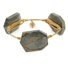 Bourbon and Boweties Stone Bracelet ($38) ❤ liked on Polyvore featuring jewelry, bracelets, grey, polished stone jewelry, handcrafted jewelry, studded jewelry, bracelets bangle and grey jewelry