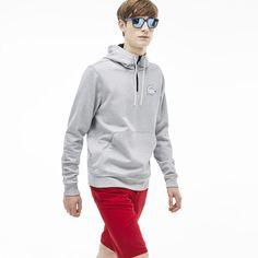 Sweatshirt com fecho de correr e capuz Lacoste LIVE em moletão