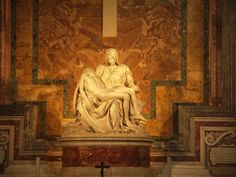 La Pieta, by Michelangelo, St Peter's Basilica, Vatican City, Italy.  The first sculpture Michelangelo created