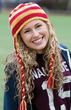 Show your team colors with a Hear It for the Team Hat that can be knit up easily thanks to the self-striping yarn. It's a great hat for all to wear!