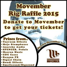 Really excited to be part of this with some other cool pedal builders!  For as little as $2 you can help us support #Movember and win some awesome guitar gear from some great companies! The raffle will be drawn on December 1st with winners notified by email/on the website!  DONATE HERE: http://ift.tt/1O1czpO  @anarchyaudio @bondieffects @candcases @macronmusic @mojostompboxes @raygunfx @smallsoundbigsound @spencerpedals @toyroomtim  #boutiqueguitarpedals #cleantone #gearaholics #gearlust…