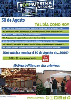 AL DÍA COMO HOY. 30 de Agosto. #DeMuestraVillena  www.muestravillena.villena.es www.facebook.com/Muestravillena @muestravillena