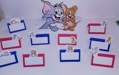 Personalized Tom and Jerry tent cards | Etsy Seating Cards, Tent Cards, Tom And Jerry, Party Signs, Etsy Handmade, Handmade Gifts, Recipe Cards, Party Favors, Card Stock