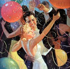 Dancing At A New Year's Eve Party vintage illustration