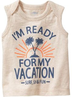 """""""Vacation"""" Graphic Sleeveless Tees for Baby Product Image"""