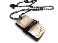 Oxidized Natural Brass Hand Stamped Initial Dog Tag by RUSTICBRAND, $27.95