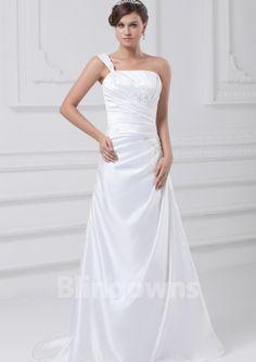 Sweep Taffeta A-line Appliques One Shoulder Zipper White Sleeveless Wedding Dresses