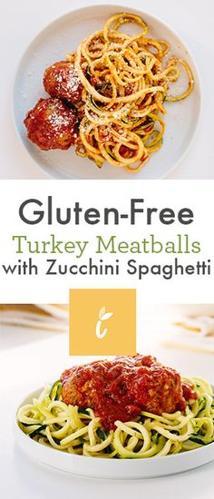Zucchini Spaghetti and Gluten-Free Turkey Meatballs - Inspiralized Turkey Spaghetti, Zucchini Spaghetti, Zucchini Noodles, Clean Eating Recipes, Healthy Eating, Cooking Recipes, Healthy Food Blogs, Healthy Recipes, Celiac Recipes