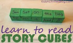 Making story cubes with Bob Books words for learning to read