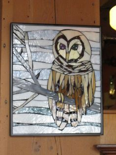 Barred Owl Art Glass Mosaic by SequentialGlass on Etsy, $225.00