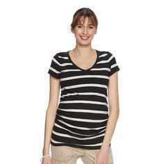 Maternity a:glow Essential Ruched V-Neck Tee, Women's, Size: Xxl-Mat, Black
