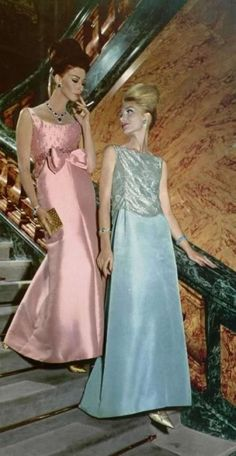Wilhemina Cooper (left) in evening wear for L'Officiel, 1962.