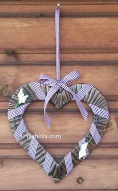 Rustic Flat Wicker Heart Wall Hanging ~ Purple or Red - pinned by pin4etsy.com