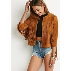 Forever 21 Women's  Genuine Suede Fringe Jacket (€24) ❤ liked on Polyvore featuring outerwear, jackets, lightweight jackets, light weight jacket, brown jacket, lightweight leather jacket and fringe jacket