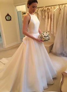 Modern Wedding Dresses,Halter Wedding Dresses, Satin Wedding Dresses