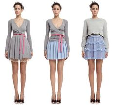Red Valentino Pre Spring/Summer 2012  Love the wrap grey wrap dress and the pink sash.
