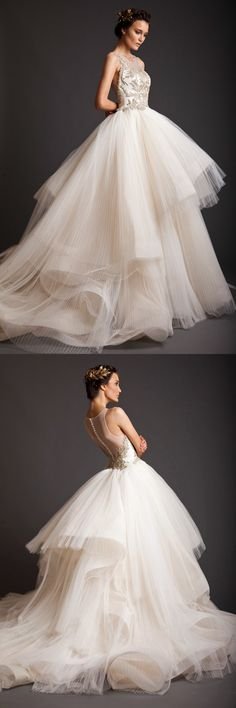 Free Shipping 2015 New Custom Made Krikor Jabotian Wedding Dresses Sheer Crew Neck Tiered Organza Ball Gown Lace Appliques Bridal Dresses