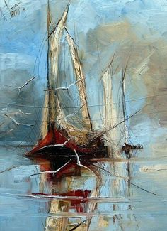 Seagulls And Sailboat By Justyna Kopania, Oil Painting Contemporary Artists, Modern Art, Boat Art, Art Graphique, French Artists, Painting Inspiration, Painting & Drawing, Abstract Art, Art Gallery