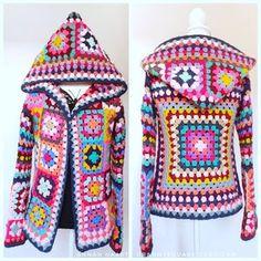 Pull Crochet, Hippie Crochet, Crochet Coat, Crochet Cardigan, Crochet Clothes, Crochet Hooks, Easy Crochet, Crochet Jacket Pattern, Granny Square Crochet Pattern