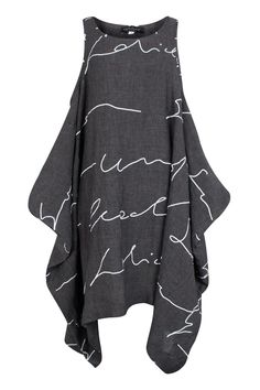 Kamuflage Anthracite Abstract Linen Tunic-Dress | idaretobe