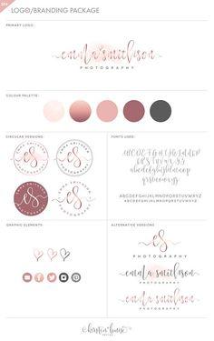 Premade rose gold watercolor branding package branding kit logo design by Kirsten Louise Design on Etsy