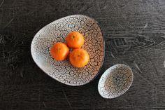 Mid Century Jopeko Teller und Schale Fat Lava Keramik Schwarz Weiß Germany Vintage 60er Jahre WGP